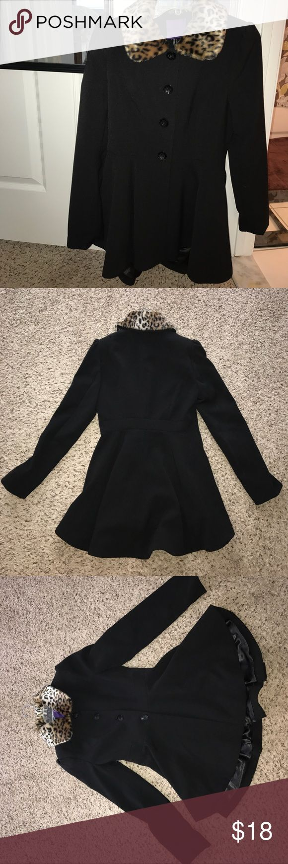 A line Coat with faux fur Cute coat with an A line fit! Faux cheetah fur on the top. Great condition hardly worn. Cute for going out or even work Forever 21 Jackets & Coats Blazers