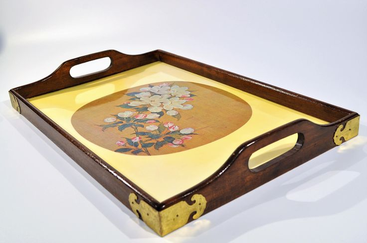 Large Cherry Blossom serving tray /Mid Century Asian /Chinese  wood & brass tray/ Asian/Japanese tray /asian tea tray by decor4home2 on Etsy