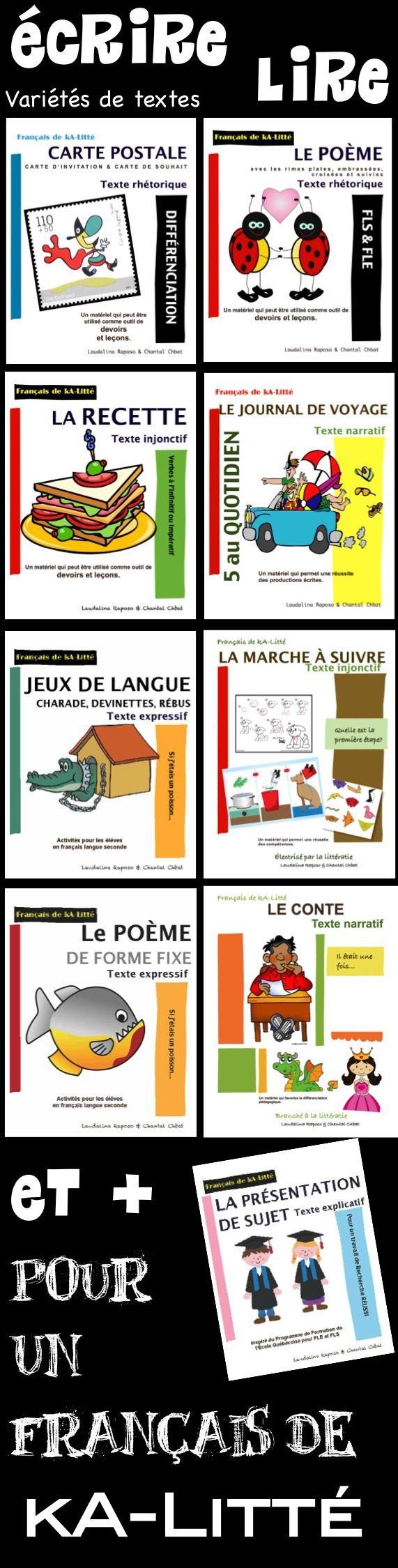 Des textes variés: LIRE pour ensuite ÉCRIRE... poème, conte, carte postale, journal de voyage, recette, marche à suivre, etc