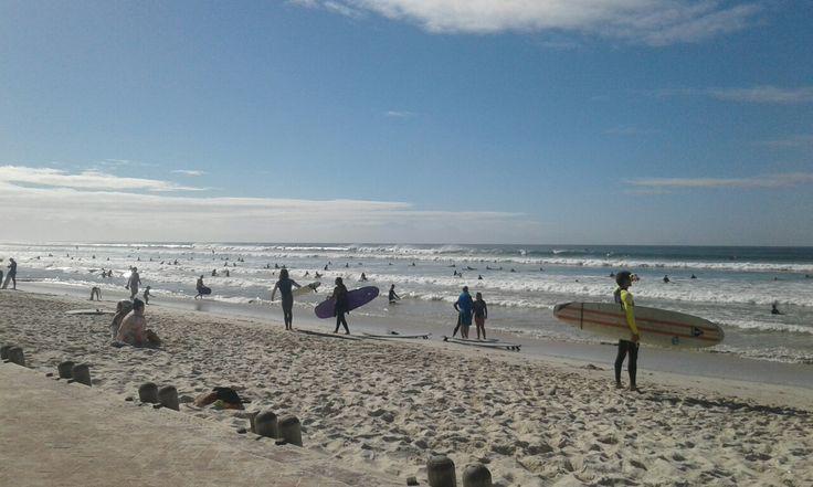 Surfers at Muizenberg beach