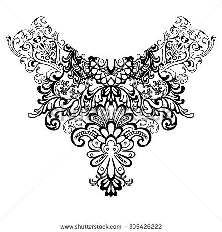 Neck print for fashion and other uses in vector