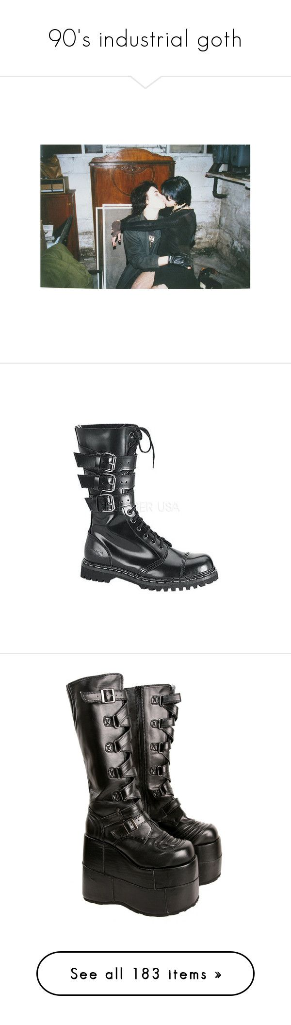 """""""90's industrial goth"""" by void-witch ❤ liked on Polyvore featuring shoes, boots, mens boots, demonia, leather upper shoes, leather upper boots, steel toe boots, demonia footwear, black and heels"""