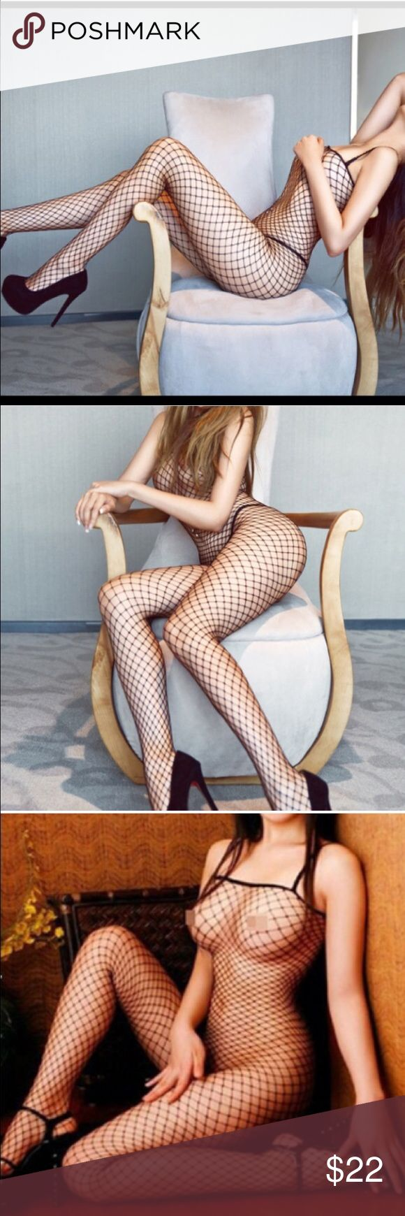 Black fish net sexy body stocking New in package. Fits xs/s/m/l Accessories Hosiery & Socks