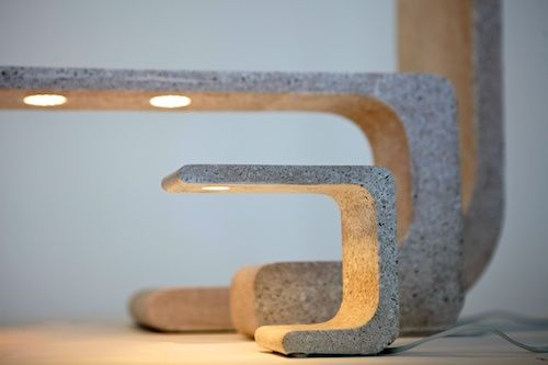 Extrude table, desk and floor lamps. Natural white concrete.