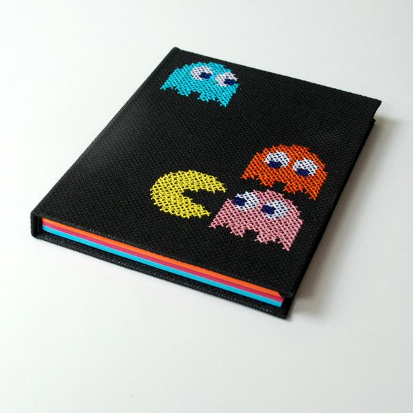 Notebooks & Notepads – Pacman nintendo 8bit, embroidered, A5, 80k – a unique product by Kajet on DaWanda