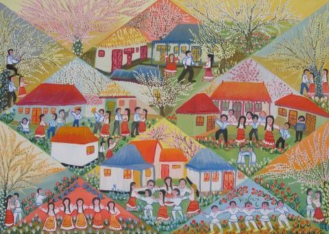 I Love the Spring by Valeria Tofan, size: 50cmX70cm. Naive art, Painting matierial: Oil on canvas