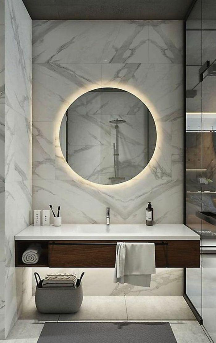 Bathroom Idea Walls Covered With White Marble With Black Ribs Bathroom Pinterest Large Round Mirro Bathroom Vanity Designs Modern Bathroom Amazing Bathrooms