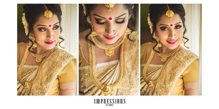 South Indian bride. Temple jewelry. Cream silk kanchipuram sari.Braid with fresh flowers. Tamil bride. Telugu bride. Kannada bride. Hindu bride. Malayalee bride