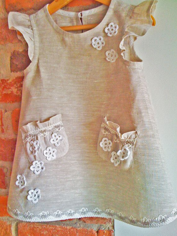Linen flower girl dress, so cute!