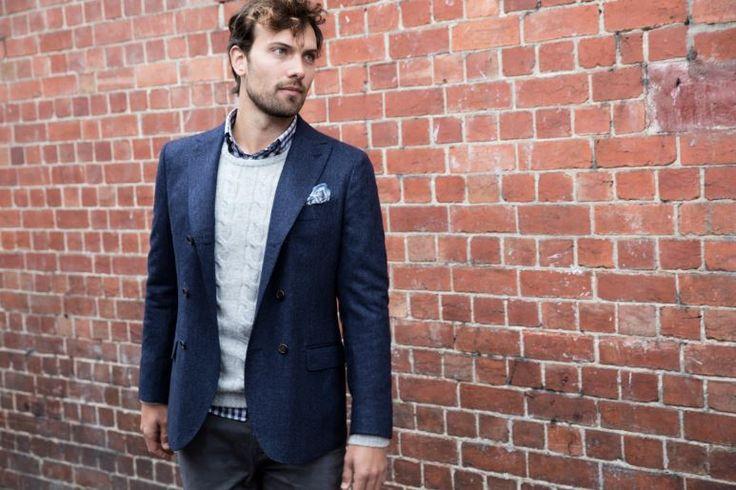 Gladstone navy jacket; Tustin navy shirt; Harvard oatmeal knit; Fox whisper grey chino; Casper blue hankie.