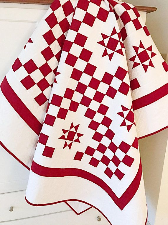 Christmas Quilt Pattern PDF Red and White Quilt Stars Lap