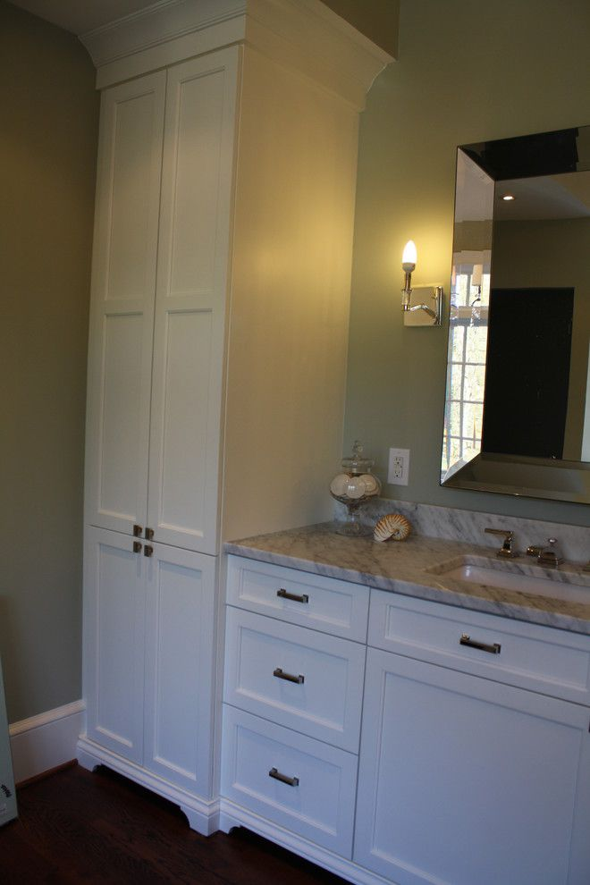 bathroom linen cabinets Bathroom Eclectic with none