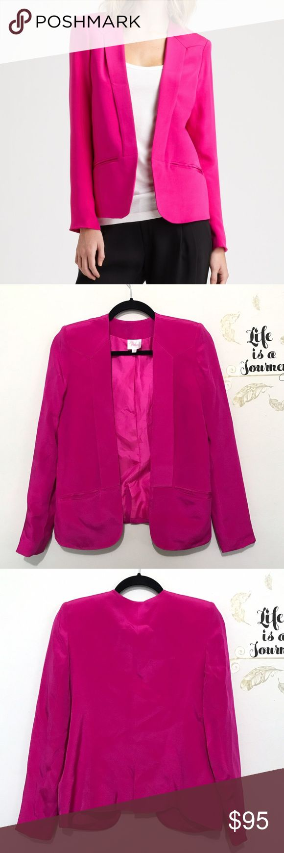 Parker Pink Silk Crepe Blazer Gorgeous hot pink/fuschia structured open blazer made with 100% silk! Pockets and shoulder pads complete the well made structure! Excellent condition, only flaw is a small mark on the upper part of one sleeve as pictured.  Pit to pit: 18.5 in Waist: 17.5 in Length, shoulder to hem: 24.5 in Sleeve, pit to cuff: 17.5 in Shoulder to shoulder, seam to seam: 15 in Parker Jackets & Coats Blazers