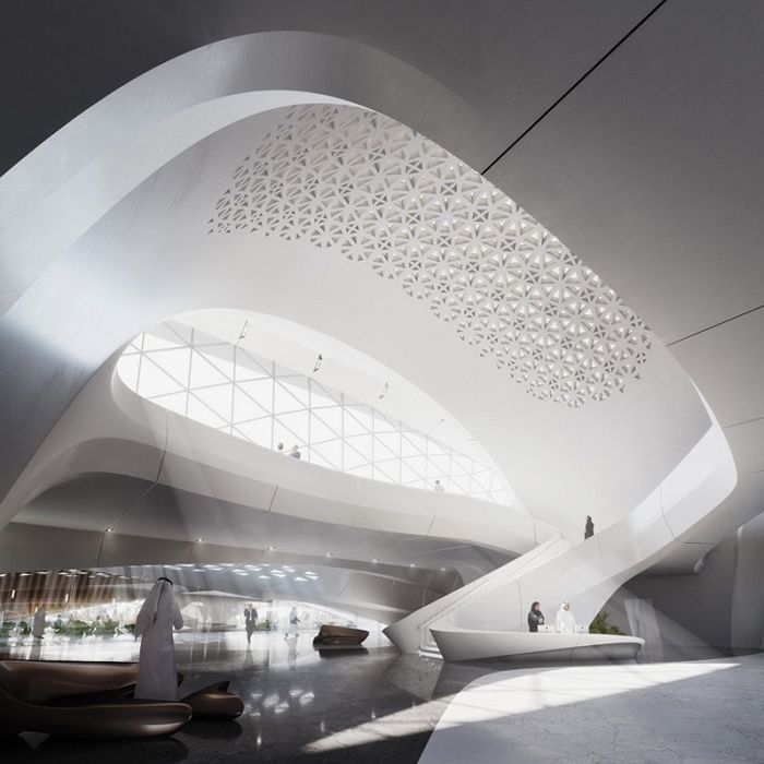 Интерьер штаб-квартиры  компании Bee'ah в ОАЭ.Заха Хадид