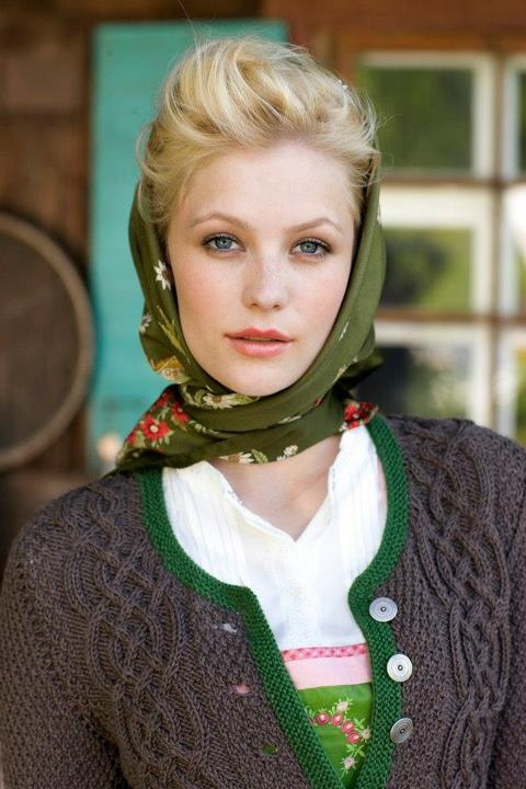 I always adore headscarves paired with dirndls. #fall #winter #dirndl #dress #German #Austrian #folk #traditional #costume #Oktoberfest