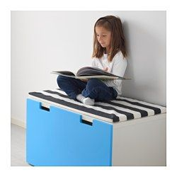 IKEA - STUVA, Storage bench, white/blue, , Low storage makes it easier for children to reach and organise their things.Stands steady also on uneven floors since adjustable feet are included.