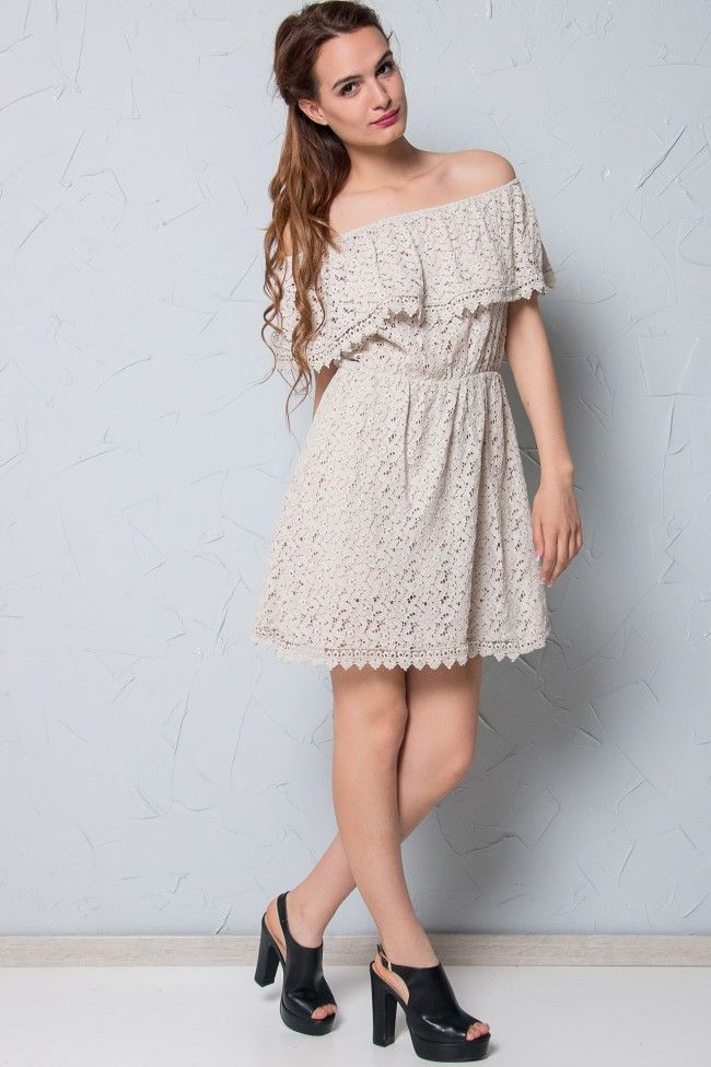 Off Shoulder Kipour Dress