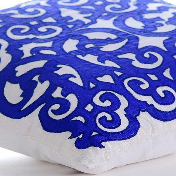 Royal Treatment Blue Silk Euro Sham Cover, 26x26 contemporary-pillowcases-and-shams