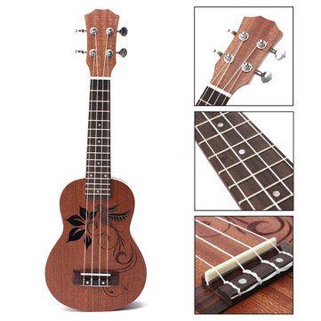 Sólo €21.11, compra mejor 21 pulgadas soprano ukulele ukulele sapeli 15 trastes flor instrumento musical venta en línea en pricio del wholesale. Almacén de EE.UU./UE.