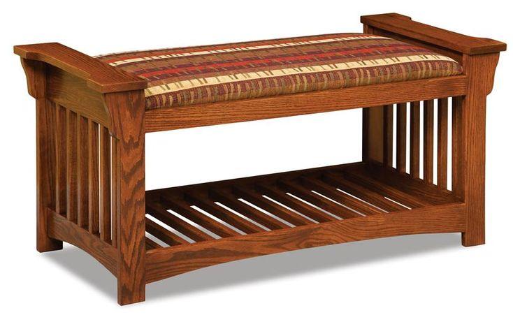 Amish Upholstered Slat Mission Bench | Amish Benches 12455