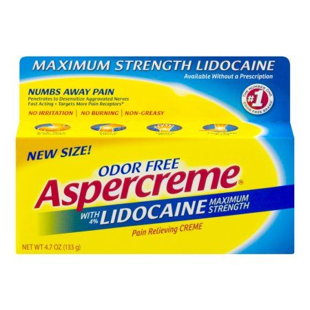 Aspercreme With Lidocaine Maximum Strength Pain Relieving Cream Odor Free, 4.7 OZ
