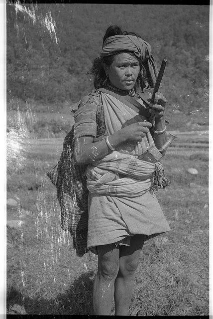 Vintage Nepal ~ Rare Old Pictures, Videos and Arts of Nepal  Nepalese Ethnic Newar(??) man with Khukuri/Khukri knife stuck into his belt | Date Photographed: 1957 | Location: Kathmandu Valley | Courtesy: San Zin (VN Member)