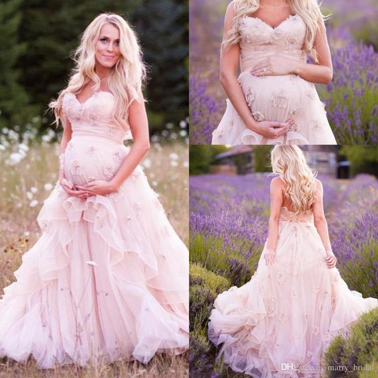 Romantic Blush Country Pregnant Wedding Dresses Sweetheart Hand Made Flower Tired Backless Lace Up Tulle Bridal Gowns Sweep Train Casual Wedding Dress Classic Wedding Dresses From Marry_bridal, $142.72| Dhgate.Com