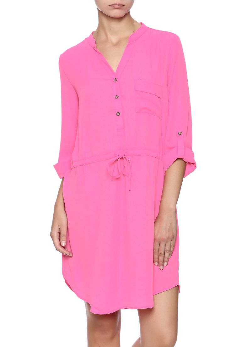 Lightweight hot pink shirtdress with long sleeves, collared neck, button down front and drawstring waist. Fully lined.   Hot Pink Dress by Mittoshop. Clothing - Dresses - Casual Clothing - Dresses - Long Sleeve Virginia