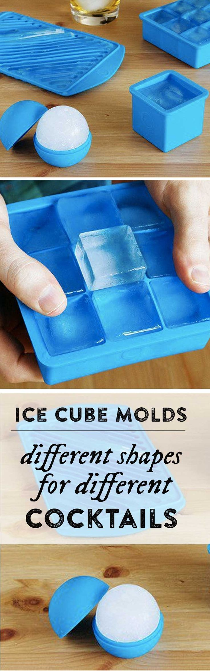This set of ice cube trays contains different shapes to complement your cocktail of choice.