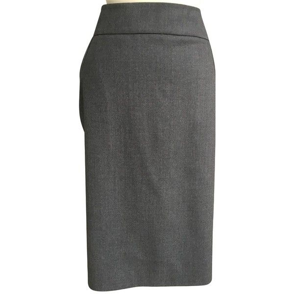 Pre-owned Wool skirt ($145) ❤ liked on Polyvore featuring skirts, grey, grey pencil skirt, gray pencil skirt, wool pencil skirt, gray wool skirt and pencil skirts