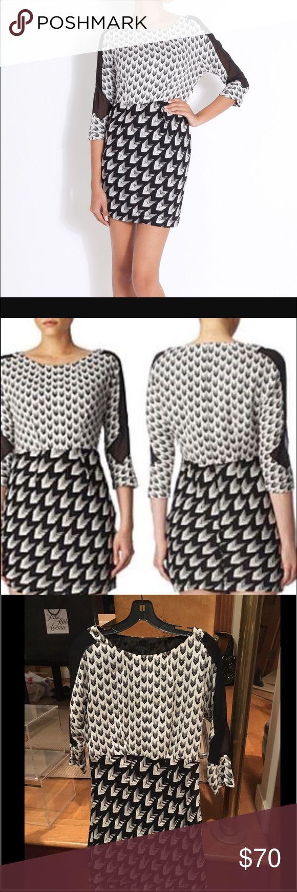 Chevron print rag & bone dress, S Black and white multi chevron print rag and bone dress with sheer sleeve detail. Amazing print. Dress is silk. Size S. in great condition! rag & bone Dresses