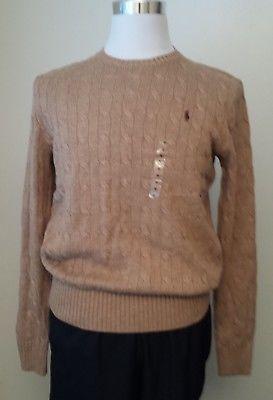 e76c47cf0 Details about POLO Ralph Lauren Men Size M Silk Cable Sweater Camel Mel  Crew Neck