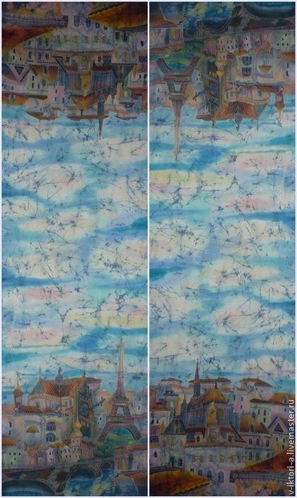 Купить или заказать 'Париж винтажный'(палантин)Батик.Крепдешин.192-58см в интернет-магазине на Ярмарке Мастеров. Шикарный палантин с видом города, двухсторонний. Панорама Парижа на фоне бирюзового неба. Здорово смотрится кракле (трещинки состаривания) Крепдешин нежный и струящийся. Работа сложная , в винтажном стиле. Не оставит равнодушным ценителей эксклюзивных вещиц. Выполнена работа в технике холодного и горячего батика. ОБШИТ ВРУЧНУЮ. Краски профессионально закреплены.НЕ ЛИНЯЕТ И ...