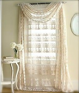 Drapes curtains swag lace