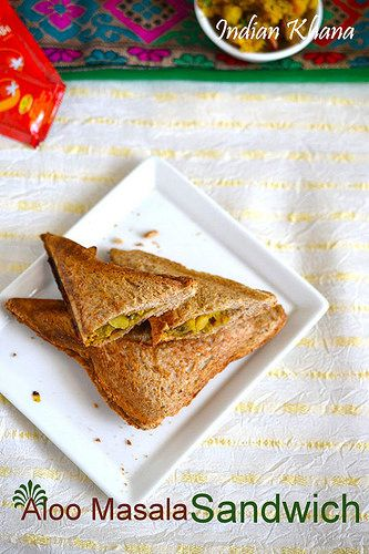 Grilled Potato (Aloo) sandwich toast with mashed spiced potato filling, works great as snack, breakfast, lunch box or quick dinner, lunch