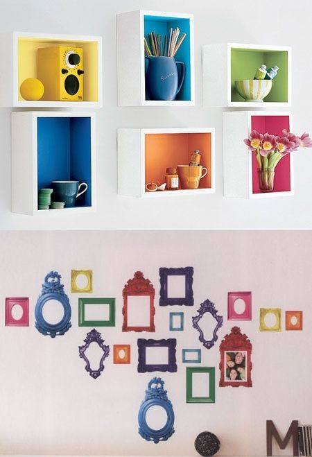 Rainbow Wall Shelves and Rainbow Picture Sticker Frames; My kitchen cabinets/shelves might look like that, if not my bookshelves as well. I won't have sticker frames as they don't always stay stick, but I like the idea of the picture frames being all different colors of the rainbow.