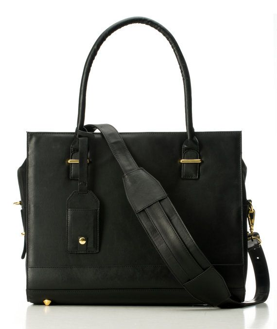 "Vegan Leather Womens Laptop Bag - ""New York"" Black Computer Bag / Women's Briefcase / Messenger Bag / Laptop Tote by GRACESHIP"