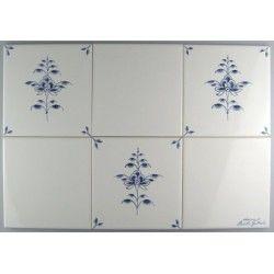 Nostalgi - Blomst B - Frise dannet af tre enkelt fliser og tre hvide fliser