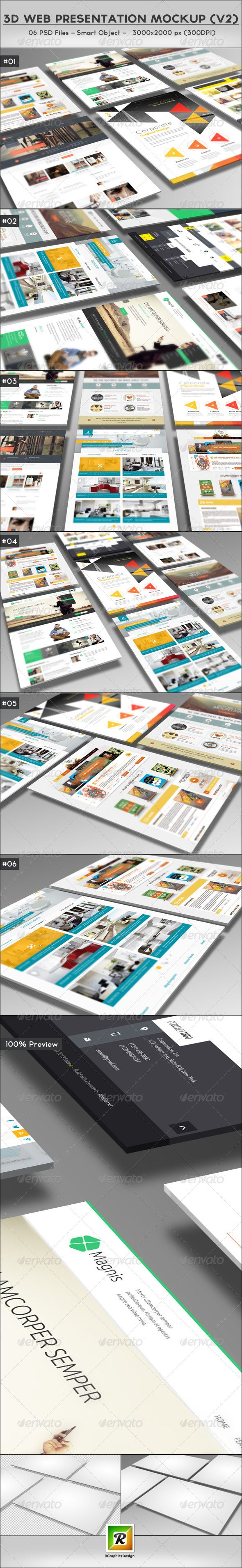 3D Web Presentation Mockup (V2) | R-GRAPHICS DESIGN  Features:  06 PSD Files Pixel Dimension: 3000×2000 Smart Object To Edit High Resolution: 300 DPI Layered PSD File