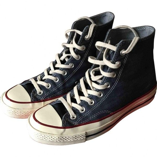 Pre-owned Converse High Trainers ($61) ❤ liked on Polyvore featuring men's fashion, men's shoes, men's sneakers, shoes, blue, men shoes trainers, mens sneakers, mens shoes, mens navy blue sneakers and converse mens sneakers