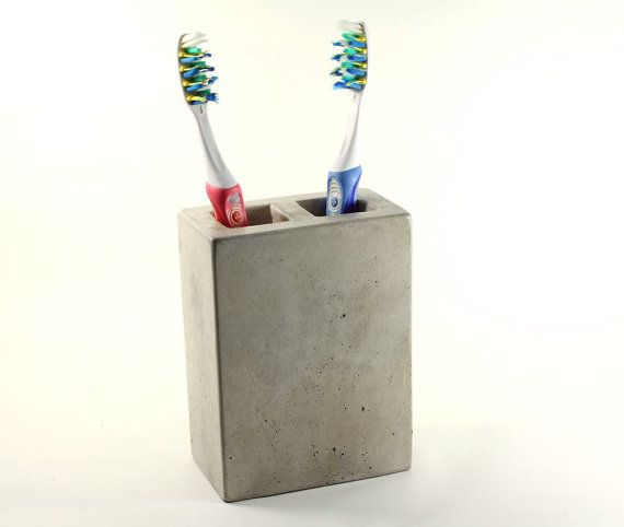 Concrete Toothbrush Holder 2 by roughfusion on Etsy, $32.00