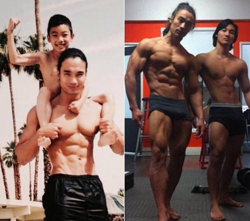 """starbearee: """" browneyedmariela: """" stunningpicture: """" Father and son 11 years later """" Real life Goku and Gohan """" @jaxblade """" Family Goals :)"""