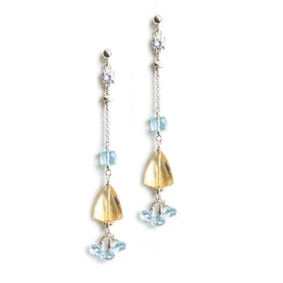Long Silver Dangle Earrings with Aquamarines by Jeva Jewels on Etsy #Etsy #JevaJewels #handmadejewelry #swissmade