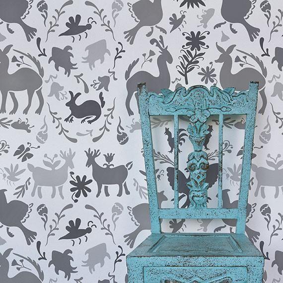 Mexican Otomi Folk Art Allover Damask Wall Stencil - Royal Design Studio $43