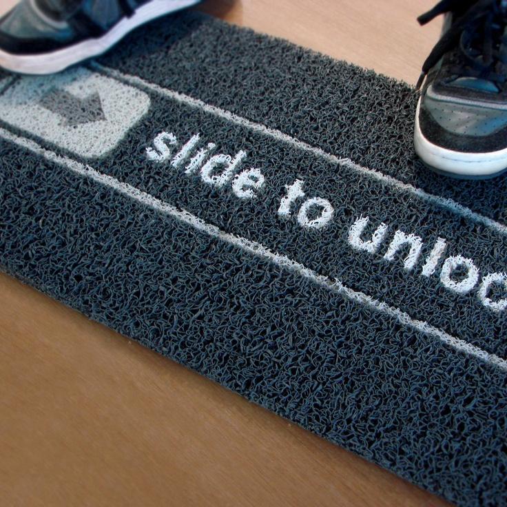 Slide To Unlock Doormat by Meninos - $36 (source fab.com, no copyright infringement intended)