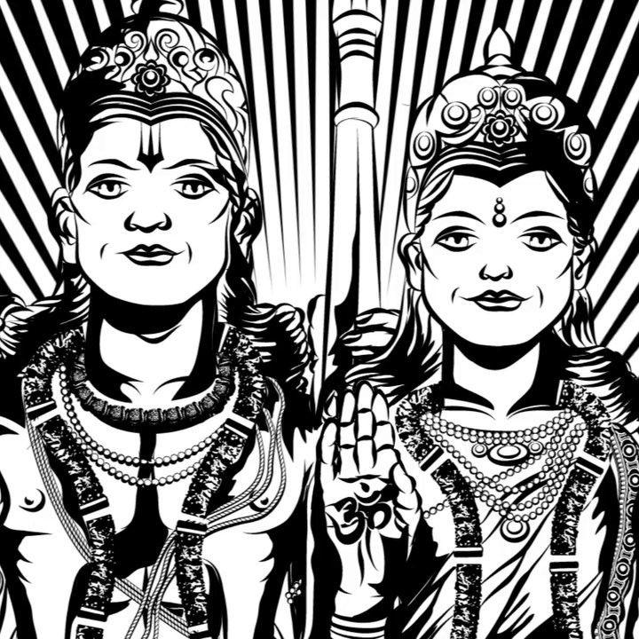 """Om Shri Hanumate Namah  #myoshka #hanuman #chalisa #yantra #animation #illustration #geometric #art"