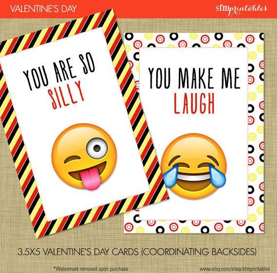 Instant Download! Emoji Valentine's Day Cards - Kids School Valentines Smiley Kissey Tween Teen Heart Face Emoji Chevron Hearts Black Red by sfmprintables