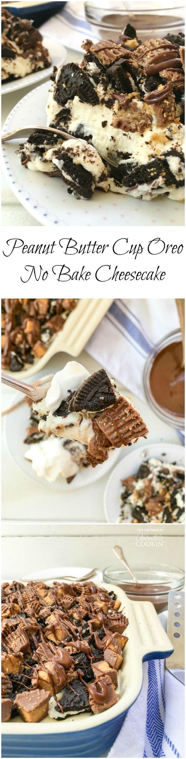 Peanut Butter Oreo No Bake Cheesecake combines cheesecake w/ Oreo cookies &…