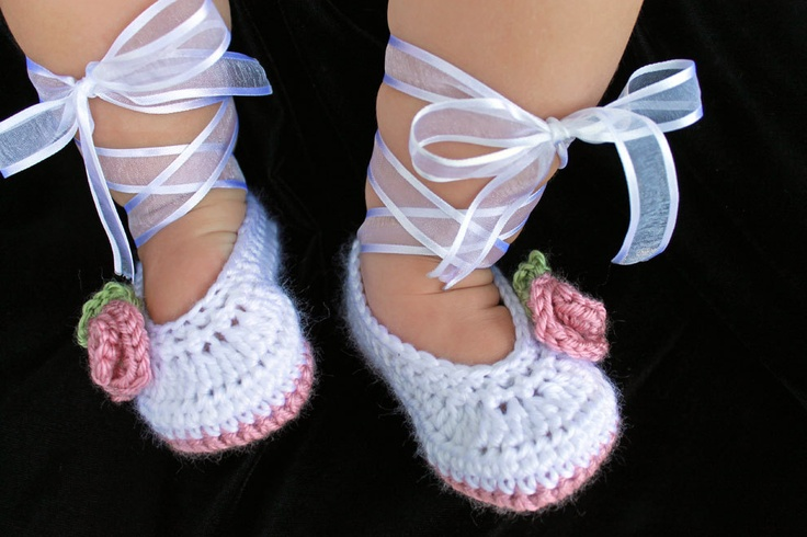 Crocheted Ballet Baby Booties in White and Dusty Rose Pink, sizes ...