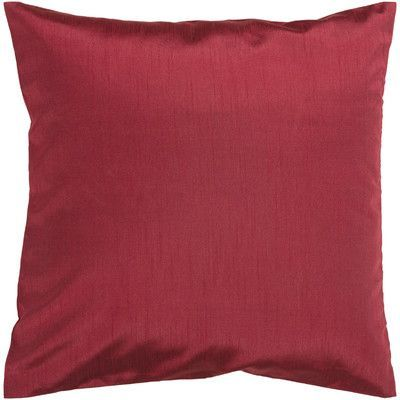 "Astoria Grand Appley Solid Luxe Synthetic Throw Pillow Size: 22"" H x 22"" W, Color: Dark Red, Filler: Down"